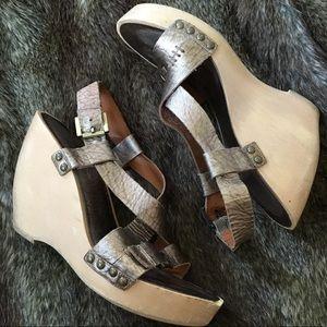 Via Spiga Metallic Wooden Wedge Sandals